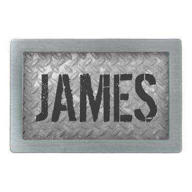 Custom name vintage steel plate metal belt buckles