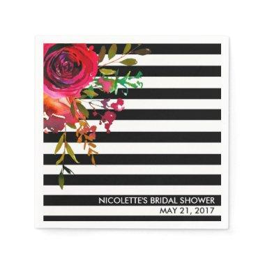 Custom Paper Napkins,  - Rose Stripes Paper Napkin
