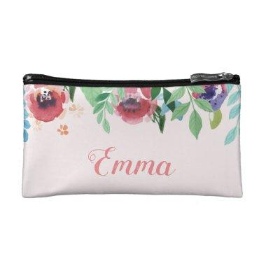 custom pink floral makeup toiletry bag