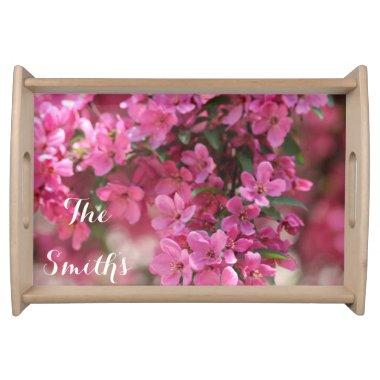 Custom Pink Floral Serving Tray