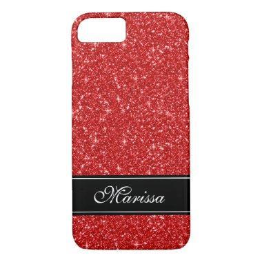Custom Red Glitter Black Ribbon iPhone 8/7 Case