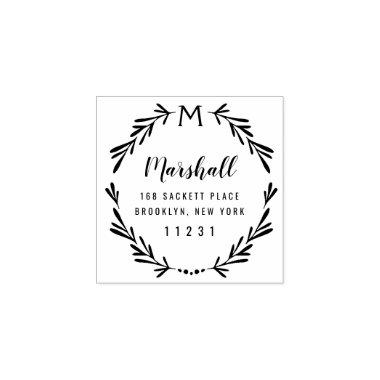 Custom Return Address Monogram Botanical Wreath Rubber Stamp