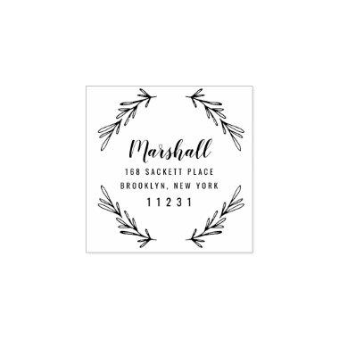 Custom Return Address Wedding Botanical Wreath Rubber Stamp