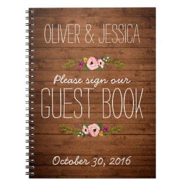 Custom Rustic Adorned with Floral | Guest Book