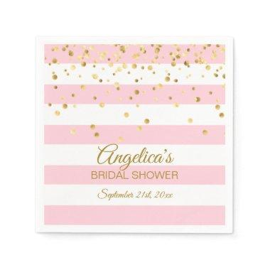 Custom Stripes Blush Pink Rose Gold  Paper Napkin