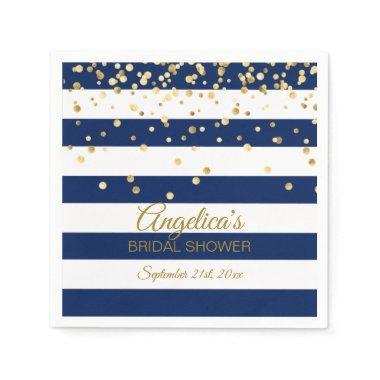 Custom Stripes Navy Blue Gold  Paper Napkin