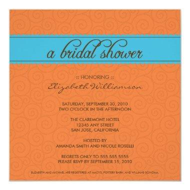 custom Timeless Bridal Shower Invite (orange/blue)
