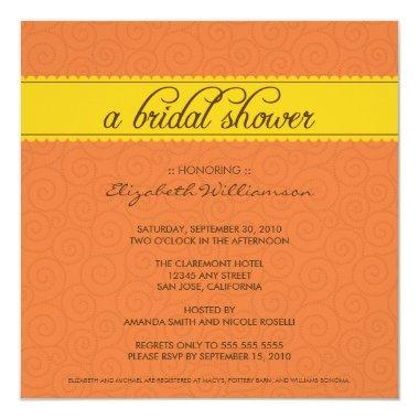 custom Timeless Bridal Shower (orange/yellow) Invitations