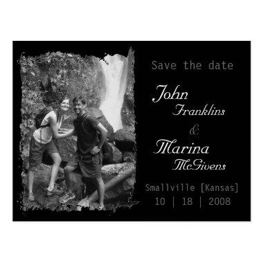 Custom Vertical Frame :Save the Date Torn Edges Post