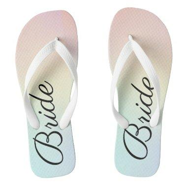 Custom Watercolor Pastel Bride Wide Strap Flip Flops