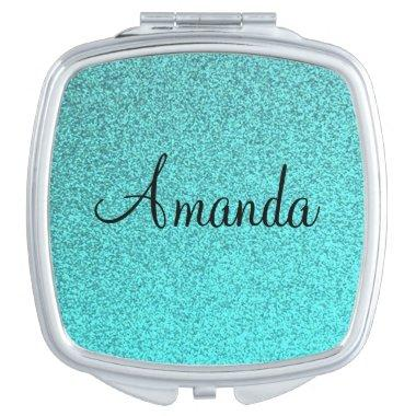 Customizable teal sparkly glitter compact mirror