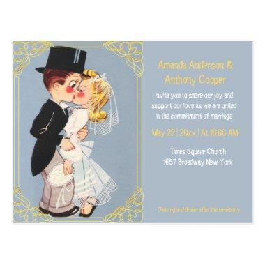 Cute and funny cartoon wedding template post