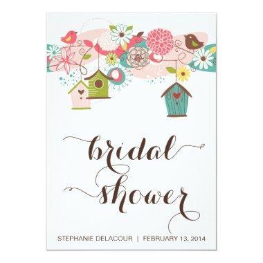 Cute Birds & Bird Houses Bridal Shower Invitations