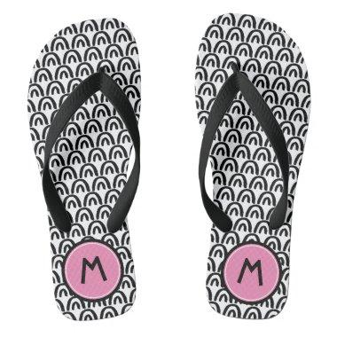 Cute Black White Patten Pink Monogram Flip Flops