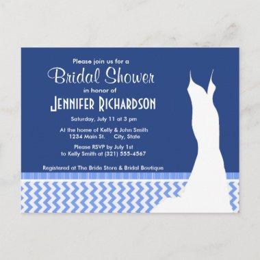 Cute Blue Chevron Pattern Invitation Post