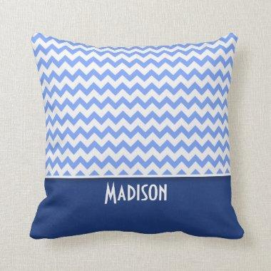 Cute Blue Chevron Pattern Throw Pillow