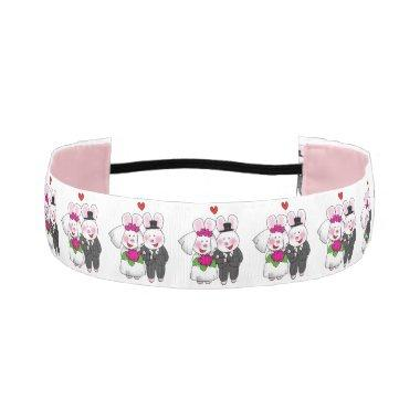 cute bunnies wedding couple athletic headband