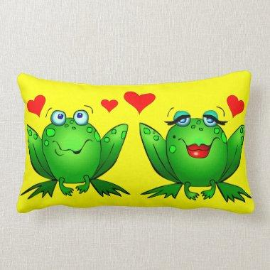 Cute Cartoon Frogs Hearts Bright Cheerful Colorful Lumbar Pillow