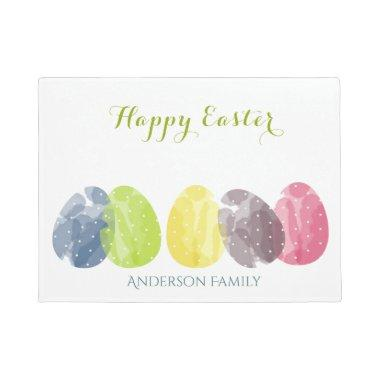 CUTE COLOURFUL WATERCOLOR EASTER EGGS MONOGRAM DOORMAT