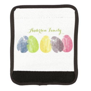 CUTE COLOURFUL WATERCOLOR EASTER EGGS MONOGRAM LUGGAGE HANDLE WRAP