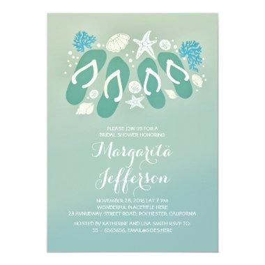cute flip flops beach bridal shower invites