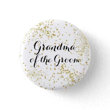 Cute Gold Glitter Grandma of the Groom Button