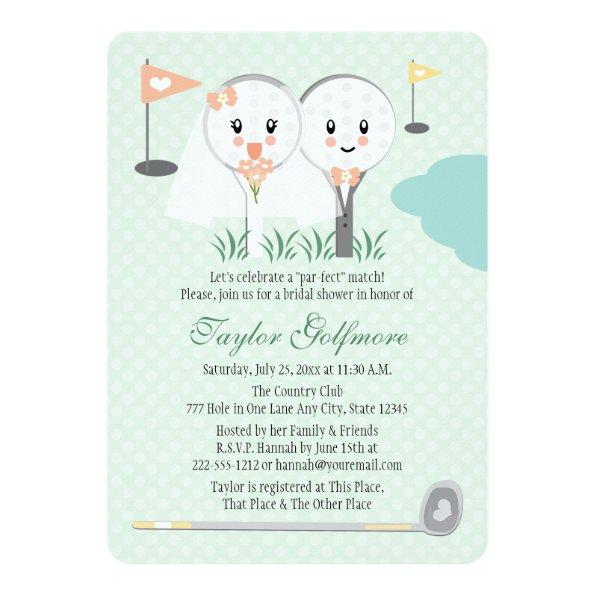Cute Golf Ball and Tee Bride Groom Bridal Shower Invitations