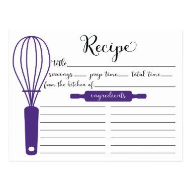Cute Hand Lettered Purple Whisk Recipe Invitations