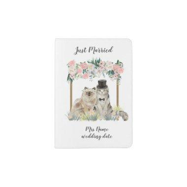Cute Honeymoon Just Married Watercolor Cats Passport Holder
