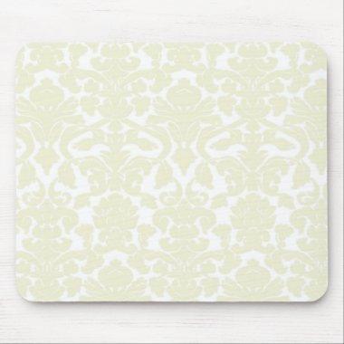 Cute Ivory Damask Pattern Mouse Pad