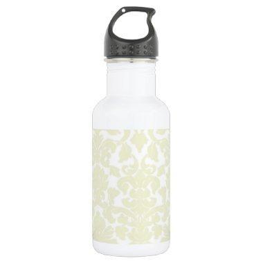 Cute Ivory Damask Pattern Stainless Steel Water Bottle