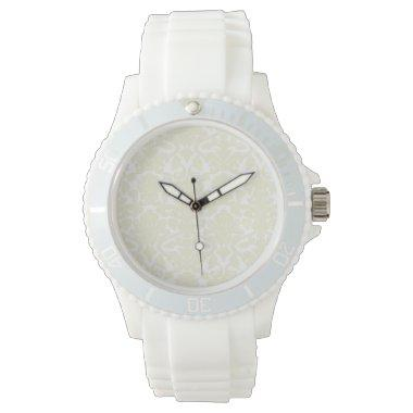 Cute Ivory Damask Pattern Wristwatch