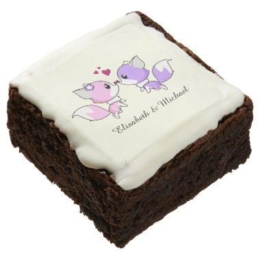 Cute kawaii foxes cartoon  chocolate brownie