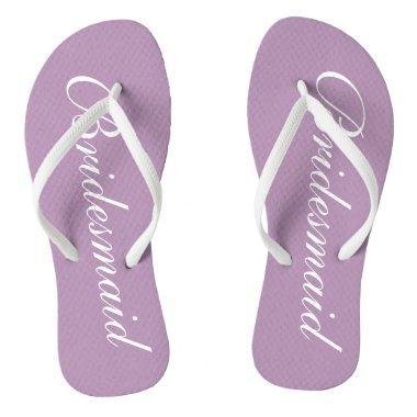 Cute lavender purple bridesmaid wedding flip flops