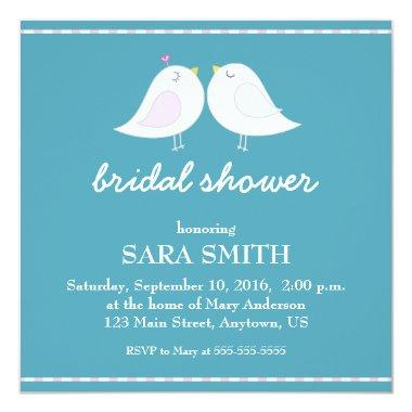 Cute Love Birds Teal  Invite