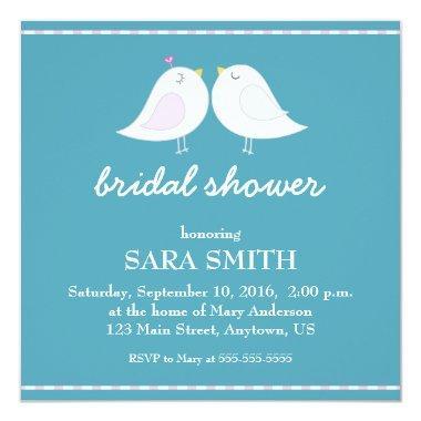 Cute Love Birds Teal  Invite