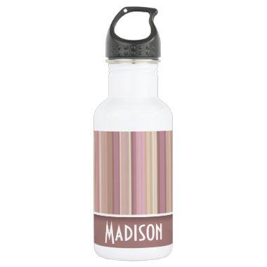 Cute Mauve, Brown Stripes Stainless Steel Water Bottle