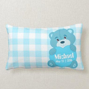Cute personalized blue teddy bear monogram lumbar pillow