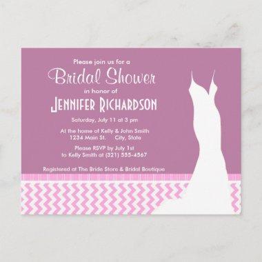 Cute Pink Chevron Invitation Post