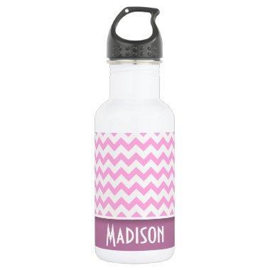 Cute Pink Chevron Stainless Steel Water Bottle