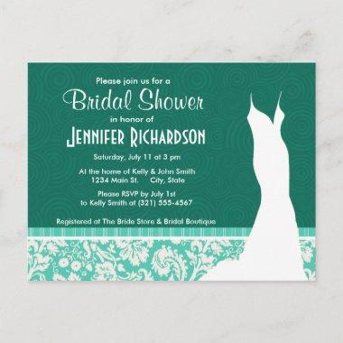 Cute Seafoam Green Damask Invitation PostInvitations