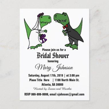 Cute T-rex Dinosaur Bride and Groom Bridal Shower Invitation PostInvitations