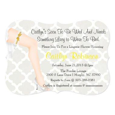 Cute Trendy Pin Up Bridal Lingerie Shower Invite