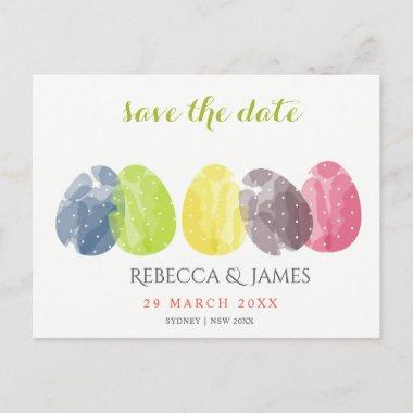 CUTE WATERCOLOUR EASTER EGGS Save the date Announcement PostInvitations