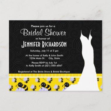 Cute Yellow & Black Bee Invitation PostInvitations