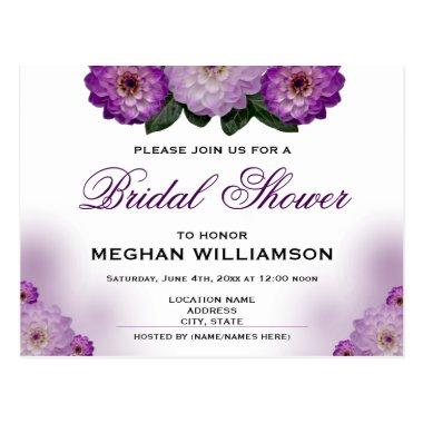 Dahlia Purple Floral Bridal Shower Invitation PostInvitations