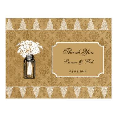 daisies in mason jar, burlap wedding thank you postInvitations