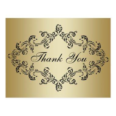 Damask decorated gold Thank You  Post