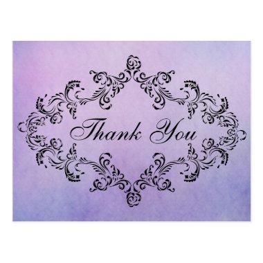 Damask decorated purple Thank You Invitations Post Invitations