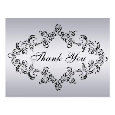 Damask decorated silver Thank You Invitations Post Invitations